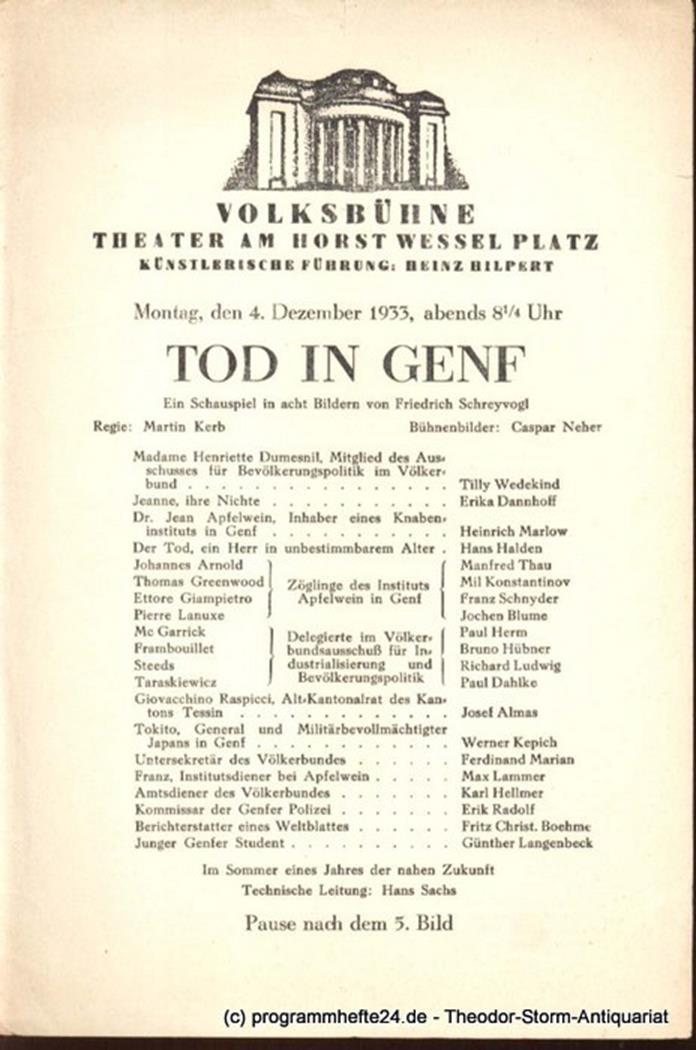 Der Widerspenstigen Zähmung. Donnerstag, den 19. Oktober 1933 Programmheft Hilpe