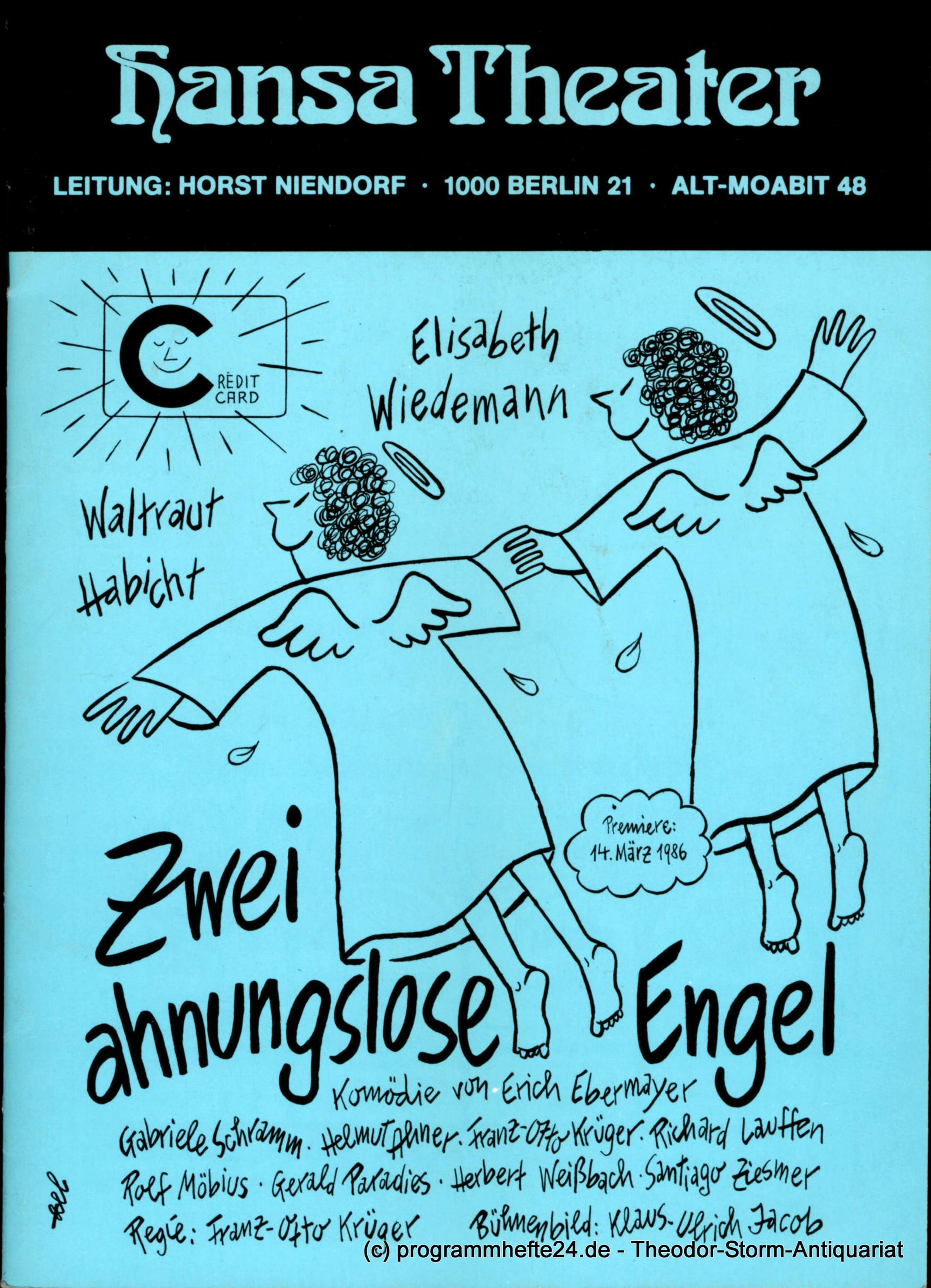 Programmheft Zwei ahnungslose Engel. Hansa Theater Berlin