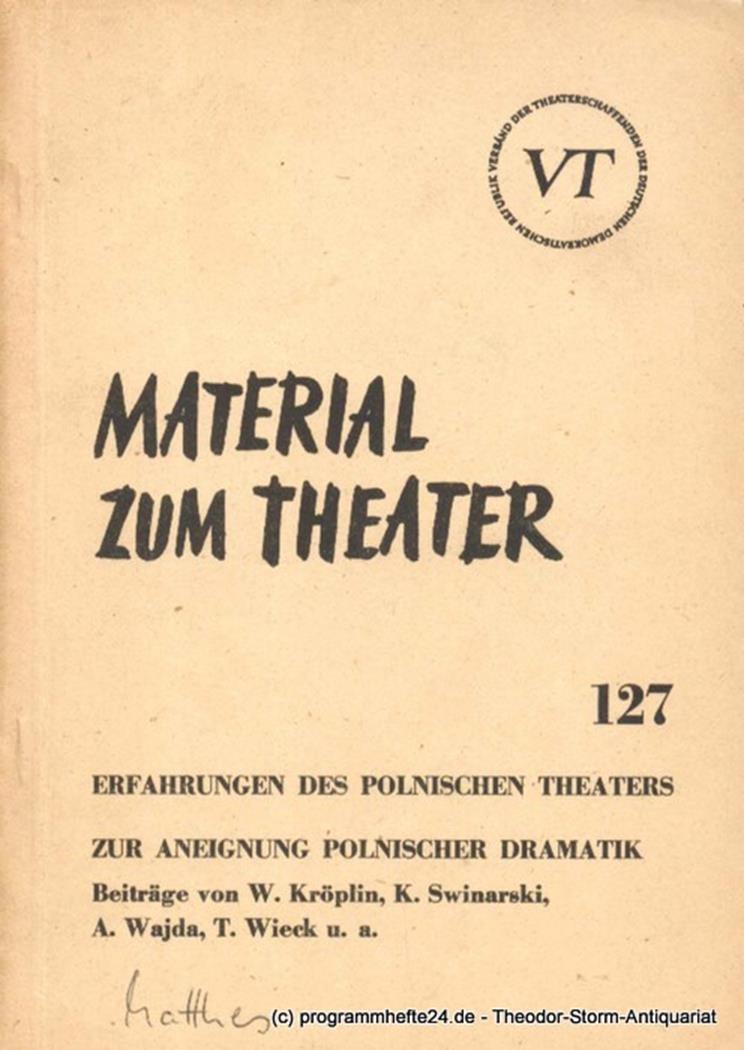 Material zum Theater Nummer 127 Reihe Schauspiel Heft 36 John Hans-Rainer