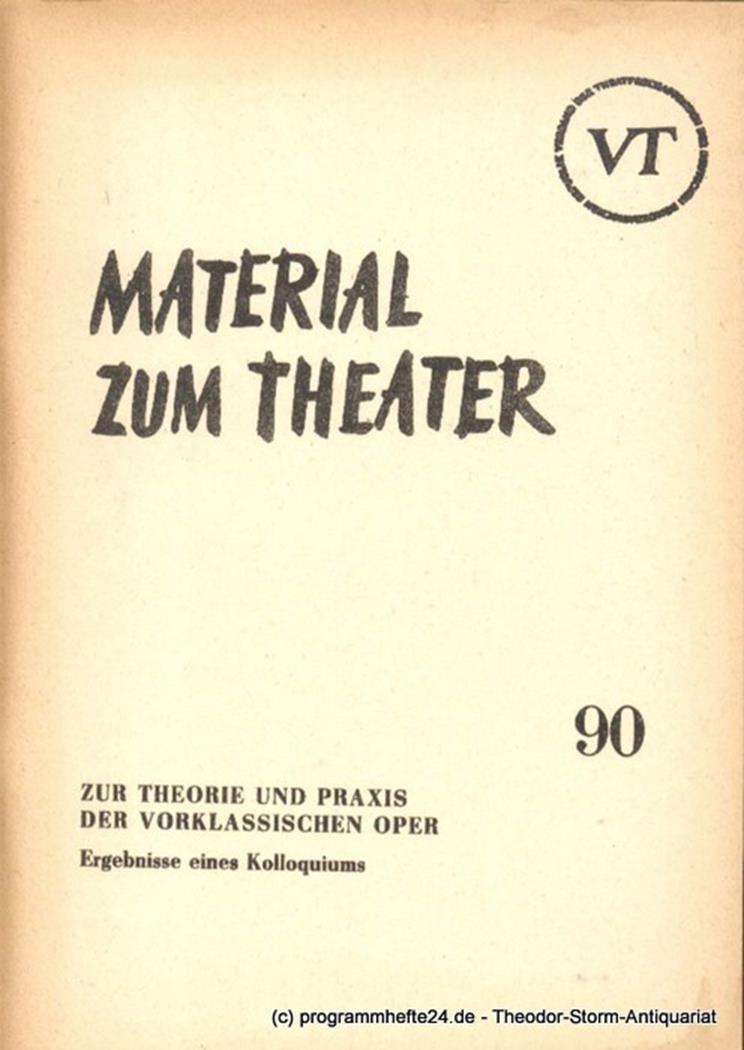 Material zum Theater Nummer 90 Reihe Musiktheater Heft 19 John Hans-Rainer