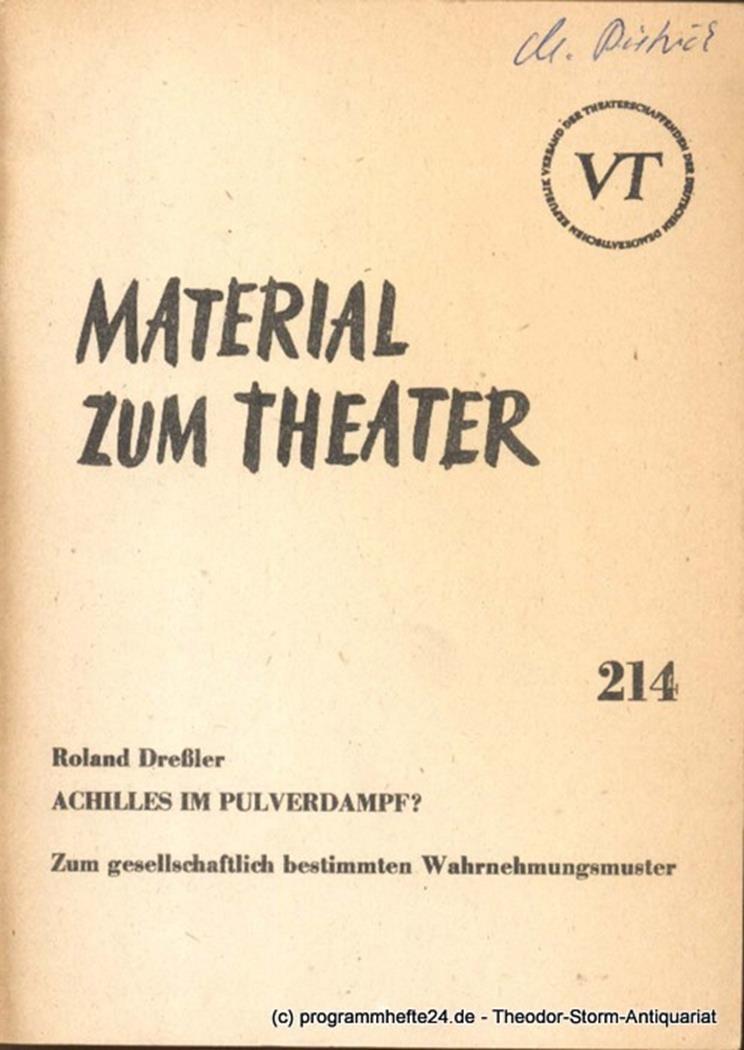 Material zum Theater Nummer 214 Reihe Theater und Gesellschaft Heft 48 John Hans