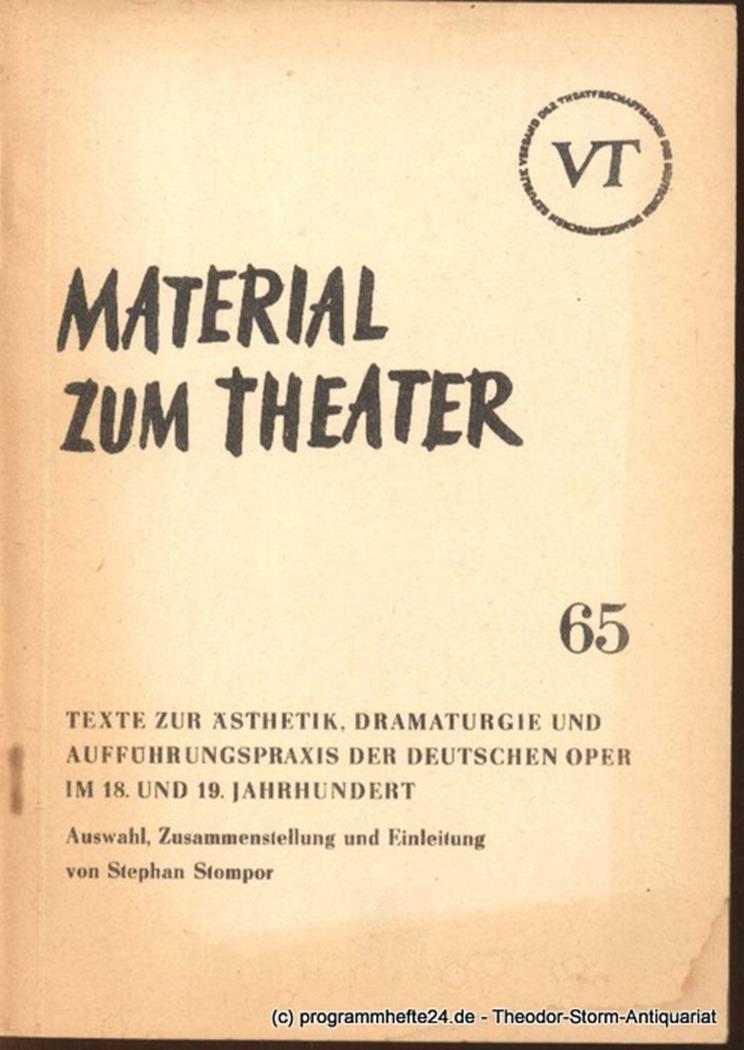 Material zum Theater Nummer 65 Reihe Musiktheater Heft 14 John Hans-Rainer