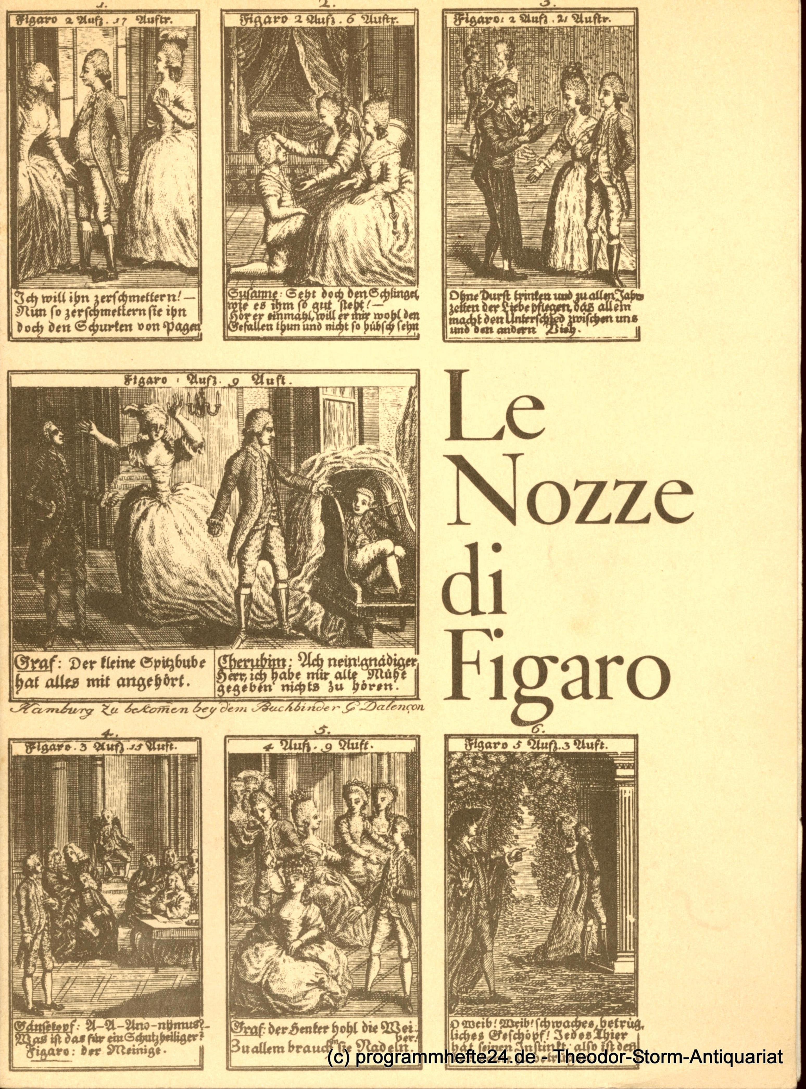 Programmheft Die Hochzeit des Figaro 21 Dezember 1974 Hamburgische Staatsoper, E