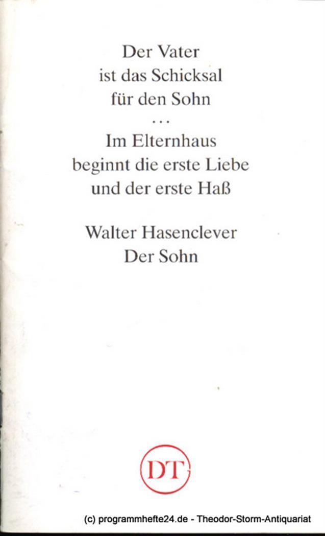 Programmheft Der Sohn. Ein Drama von Hans Hasenclever. Blätter des Deutschen The