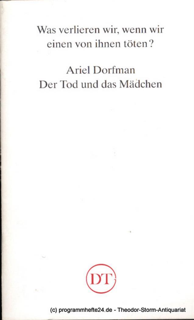 Programmheft Der Tod und das Mädchen von Ariel Dorfmann Blätter des Deutschen Th