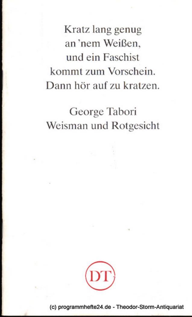 Programmheft Weisman und Rotgesicht. Ein jüdischer Western von George Tabori Blä