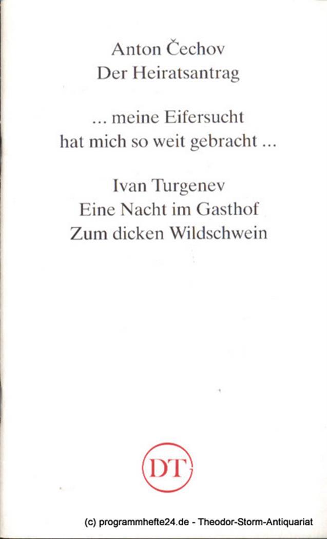 Programmheft Der Heiratsantrag von Anton Cechov und Uraufführung Eine Nacht im G