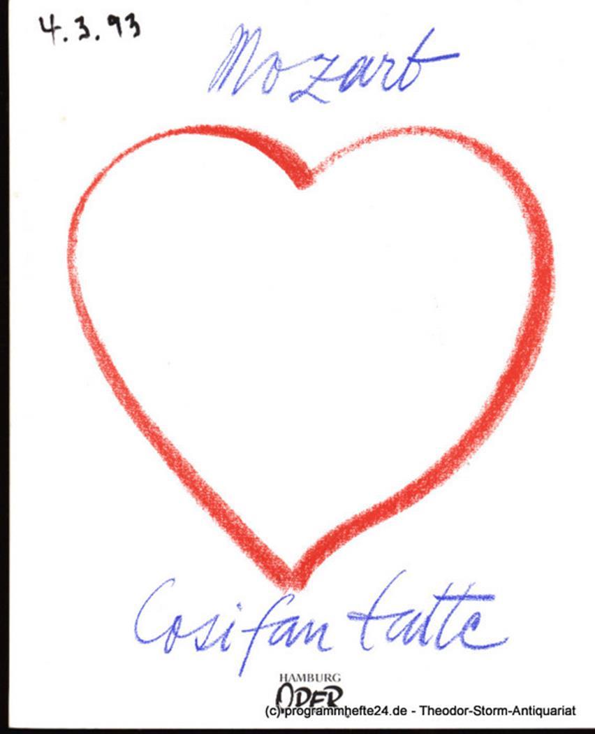 Programmheft zur Neuinszenierung Cosi fan tutte von Wolfgang Amadeus Mozart am 1