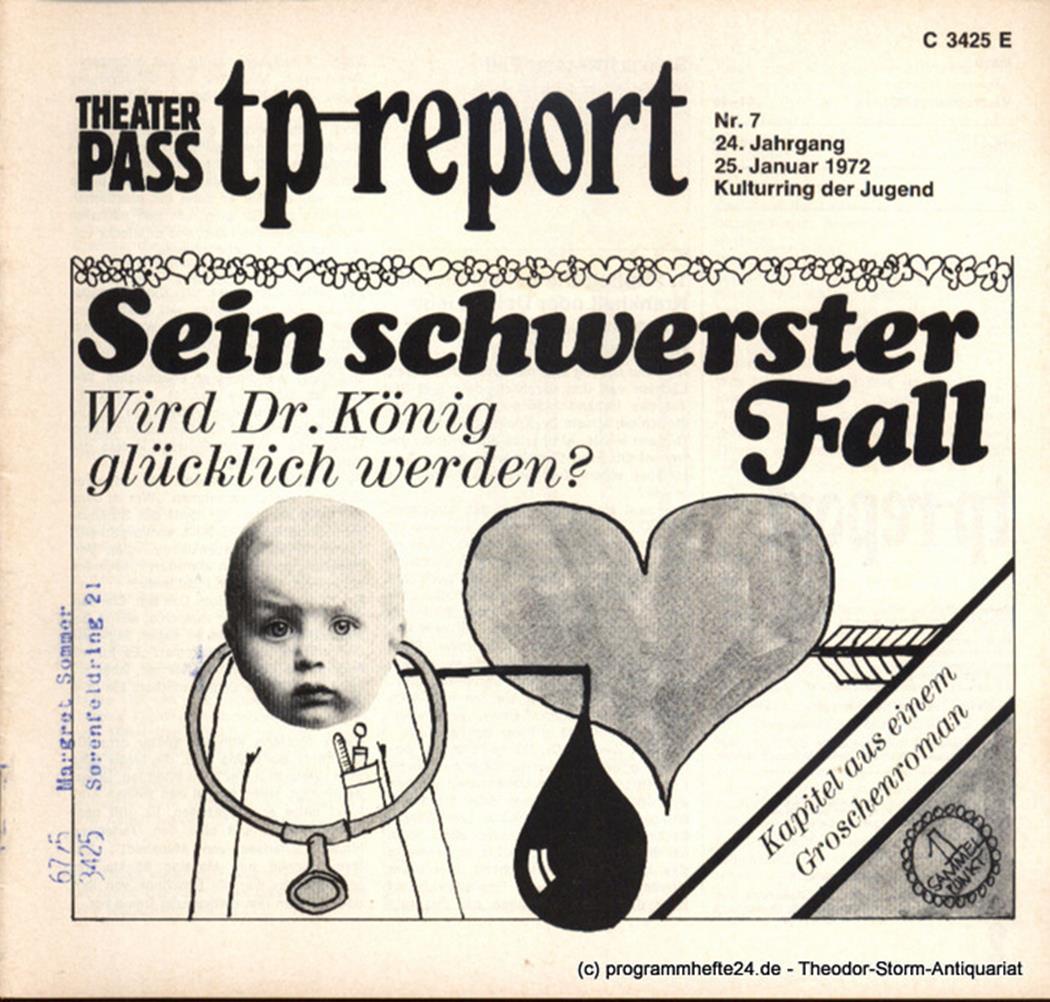 Theaterpaß. tp-report Nr. 7 24. Jahrgang 25. Januar 1972 ( Sein schwerster Fall