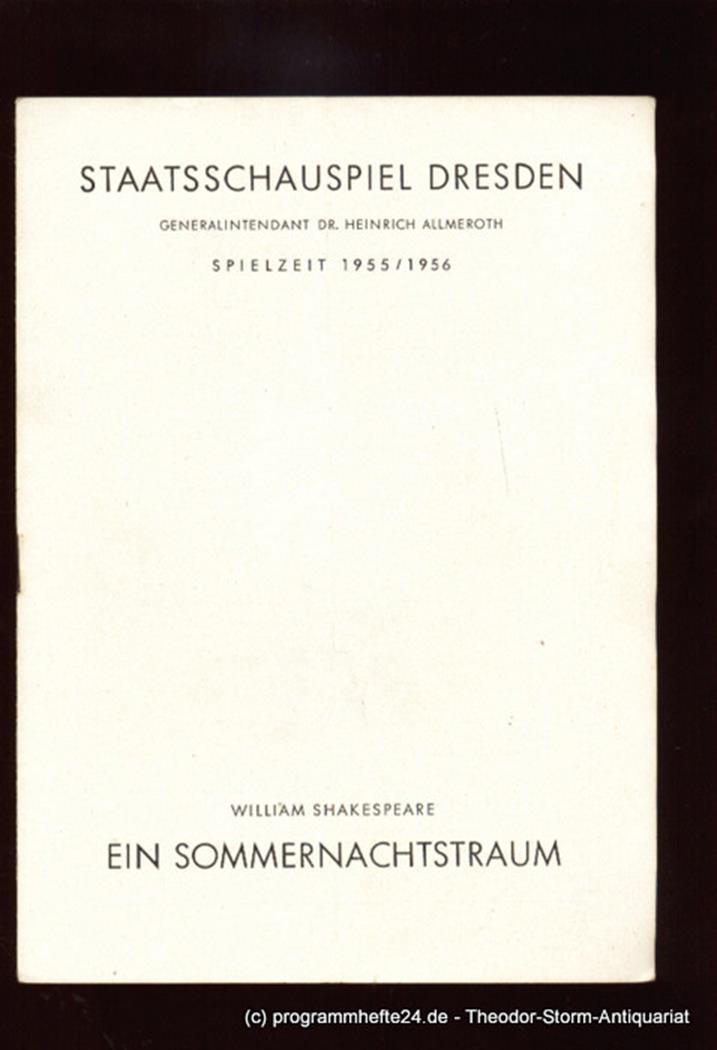 Programmheft Ein Sommernachtstraum von William Shakespeare. Spielzeit 1955 / 195