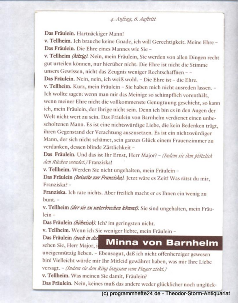 Programmheft Minna von Barnhelm oder Das Soldatenglück von Gotthold Ephraim Less
