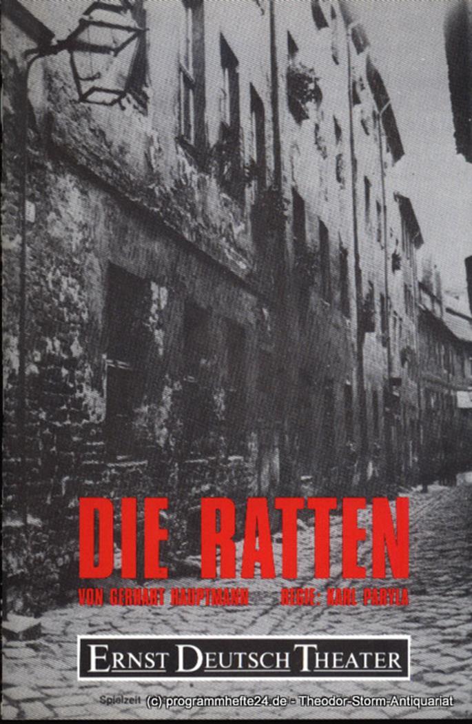 Programmheft Die Ratten von Gerhart Hauptmann. Premiere 18. Januar 1990. Spielze