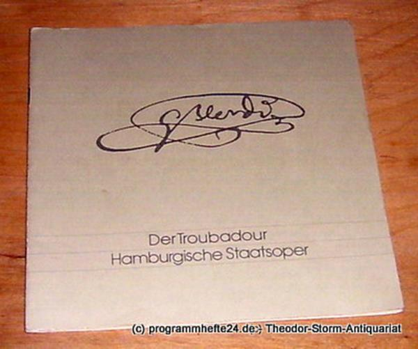 Programmheft Der Troubadour ( Il Trovatore ) Oper von Giuseppe Verdi. Sonnabend