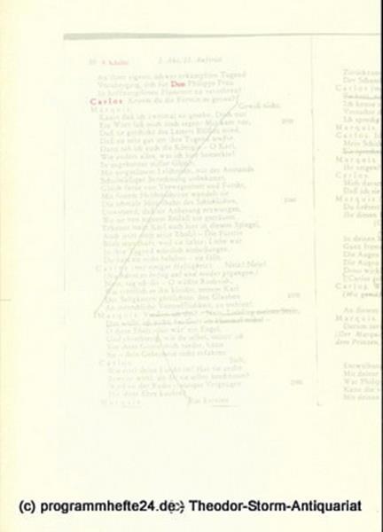 Programmheft Don Carlos. Ein dramatisches Gedicht von Friedrich Schiller. Premie