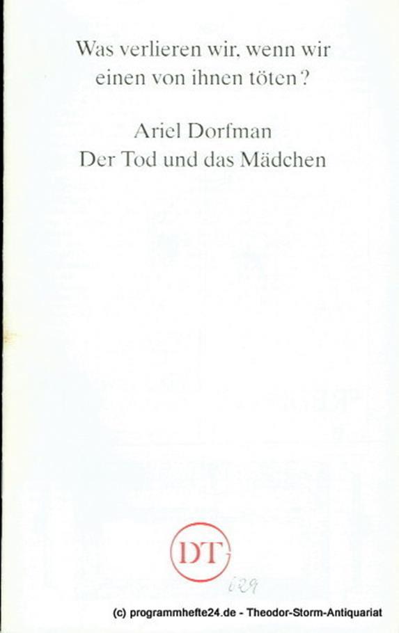 Programmheft Der Tod und das Mädchen von Ariel Dorfmann. Premiere 24. April 1993