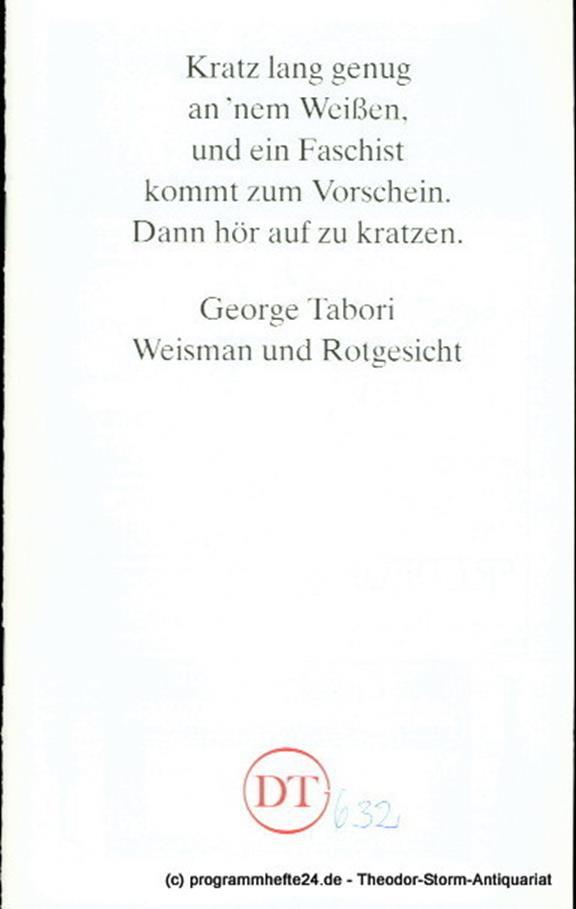 Programmheft Weisman und Rotgesicht. Ein jüdischer Western von George Tabori. Pr