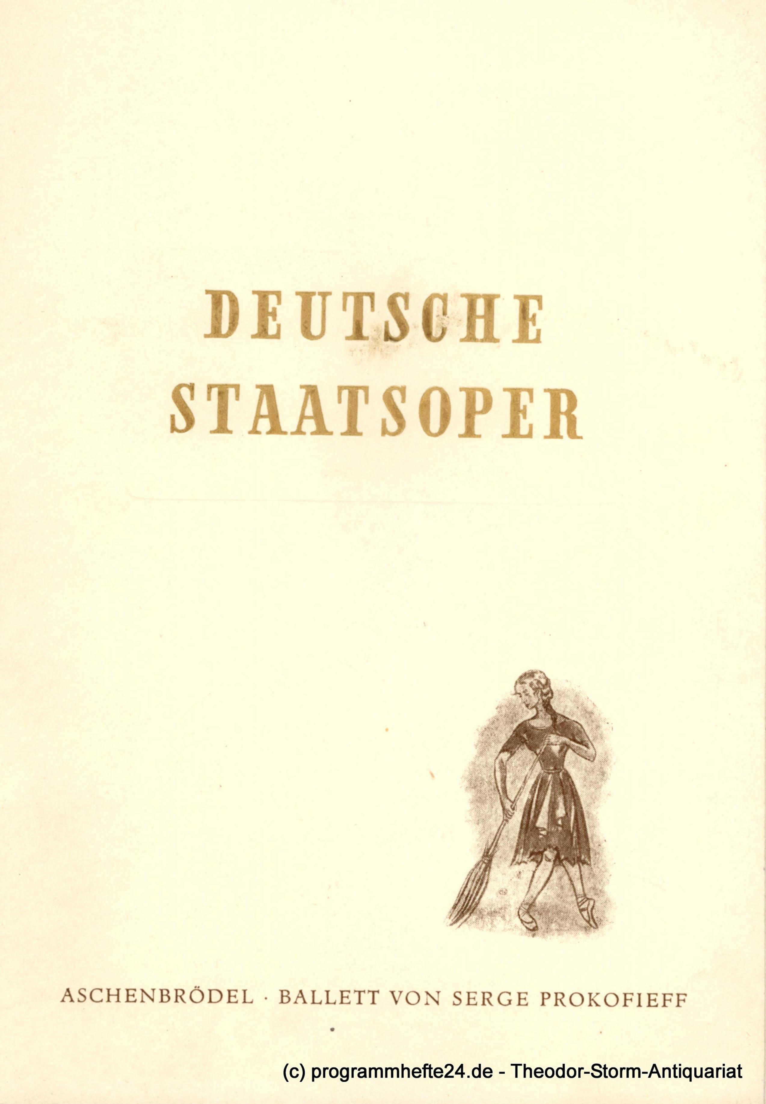 Programmheft Deutsches Staatsoper Berlin Aschenbrödel 1952