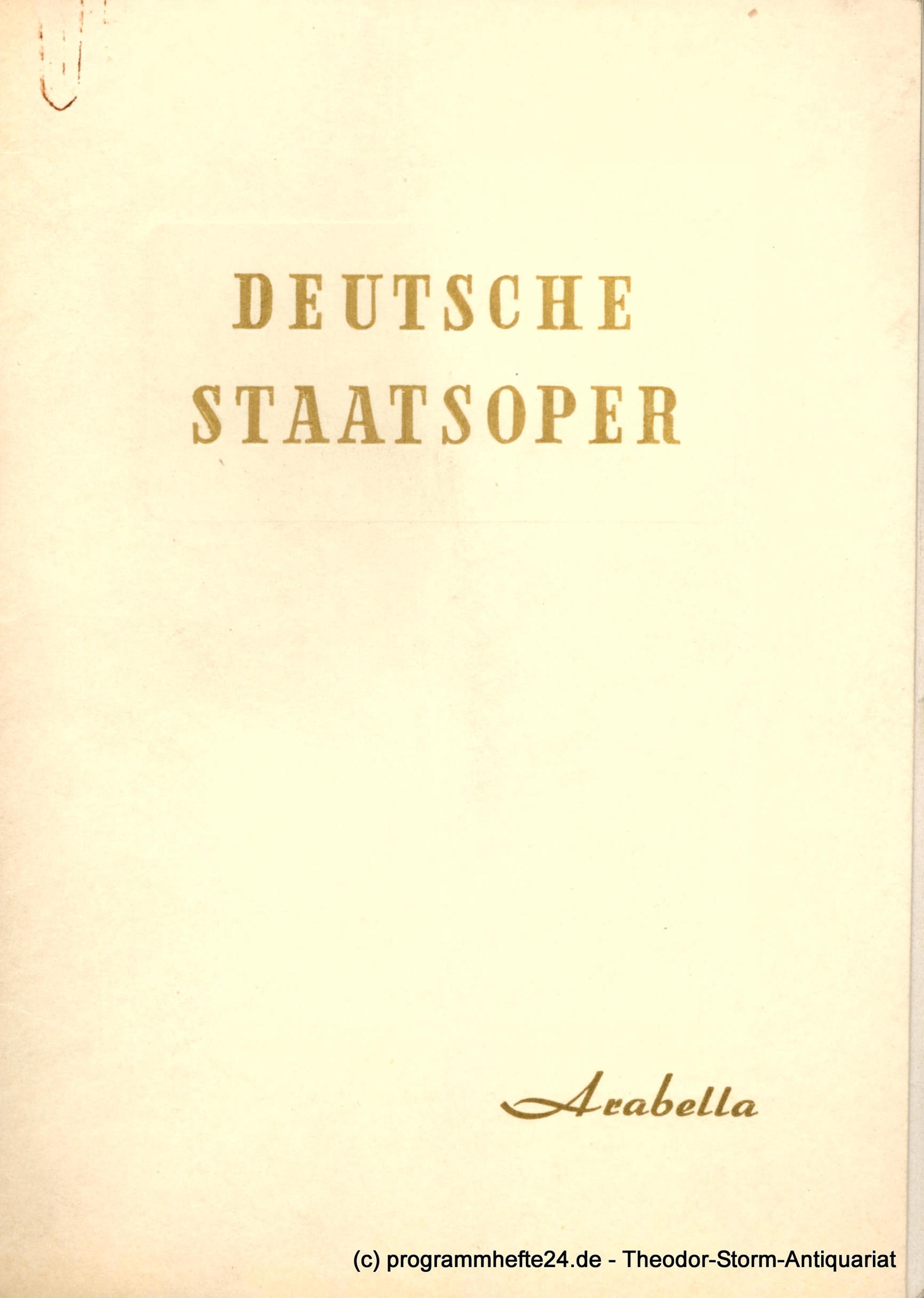 Programmheft Arabella. Deutsche Staatsoper Berlin 1951