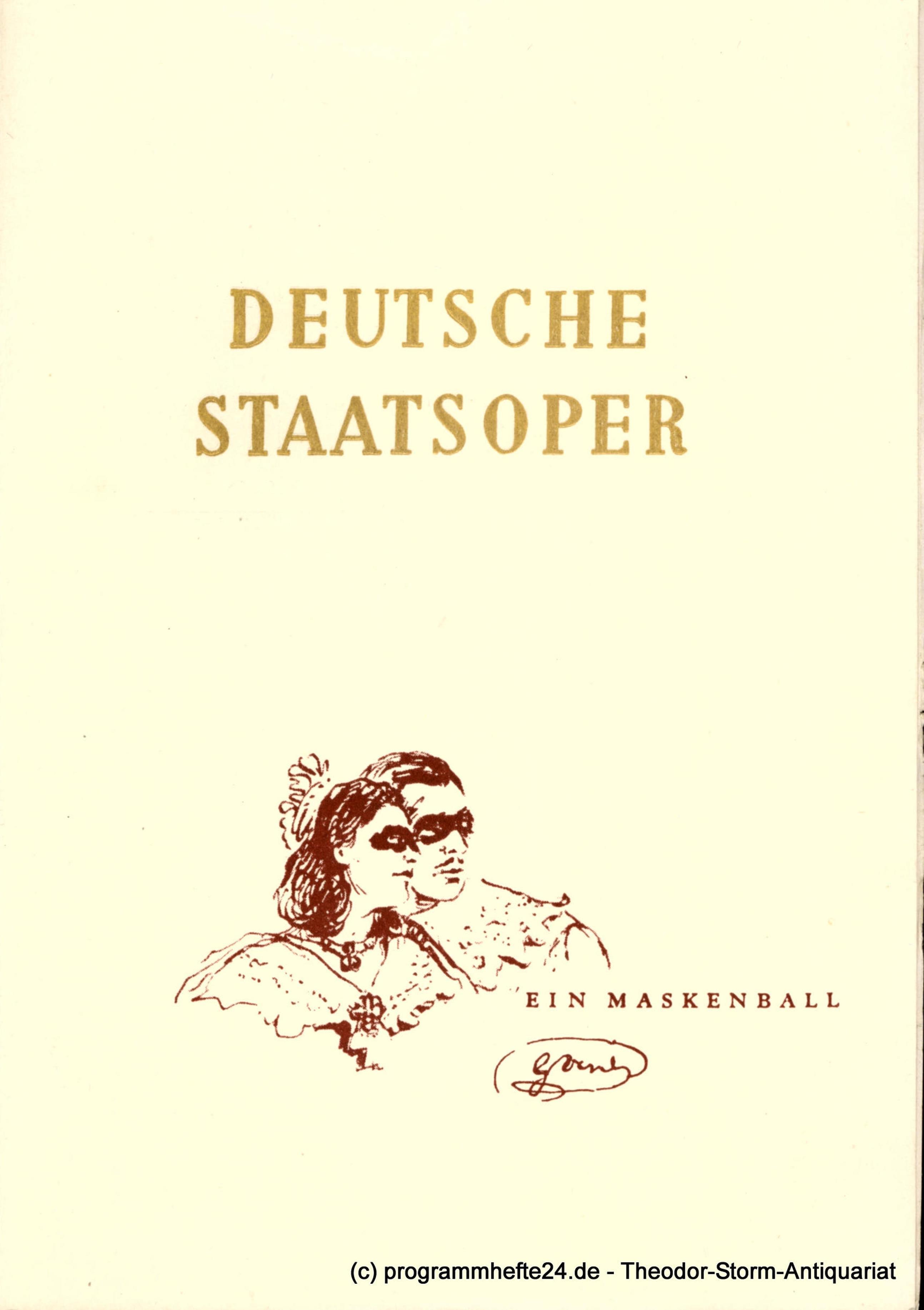 Programmheft Ein Maskenball. Deutsche Staatsoper Berlin 1951
