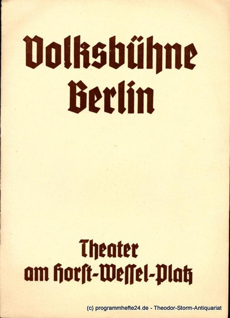 College Crampton. Komödie von Gerhart Hauptmann Volksbühne Berlin 1938