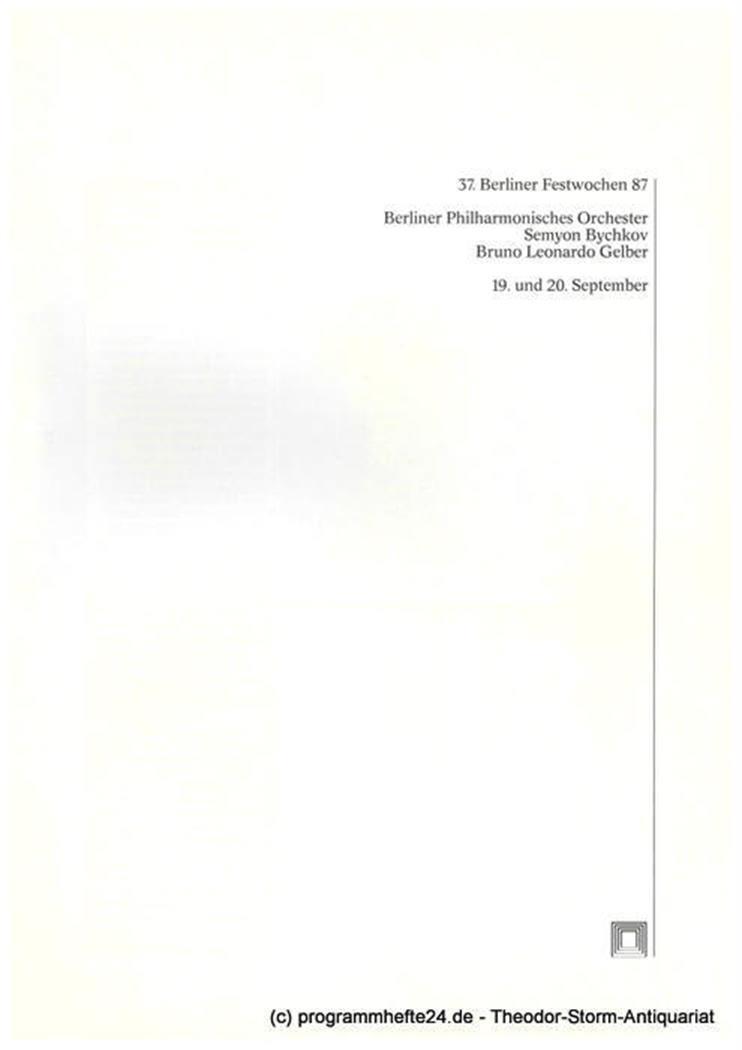Programmheft Berliner Philharmonisches Orchester. Semyon Bychkov, Bruno Leonardo