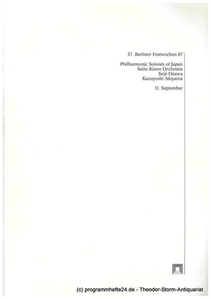Programmheft Philharmonic Soloists of Japan. Saito Kinen Orchestra. Seiji Ozawa.