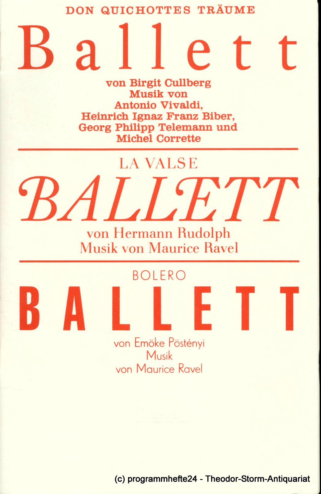 Programmheft Don Quichottes Träume - La Valse - Bolero. Dresden 1990