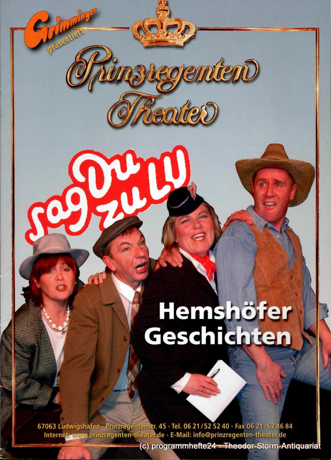 Programmheft Hemshöfer Geschichten Prinzregenten-Theater Ludwigshafen
