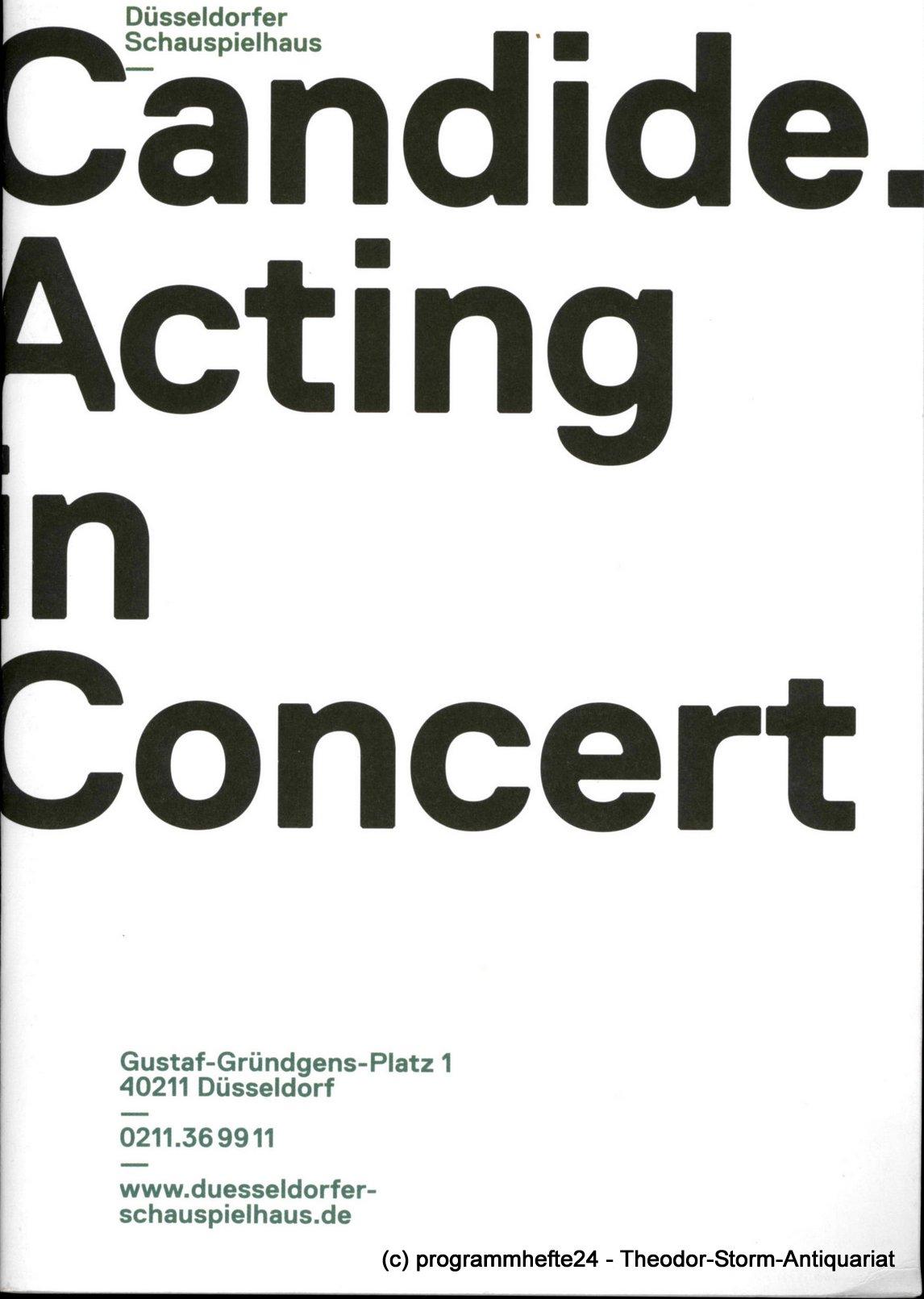Programmheft CANDIDE. Acting in Concert. Düsseldorfer Schauspielhaus 2013
