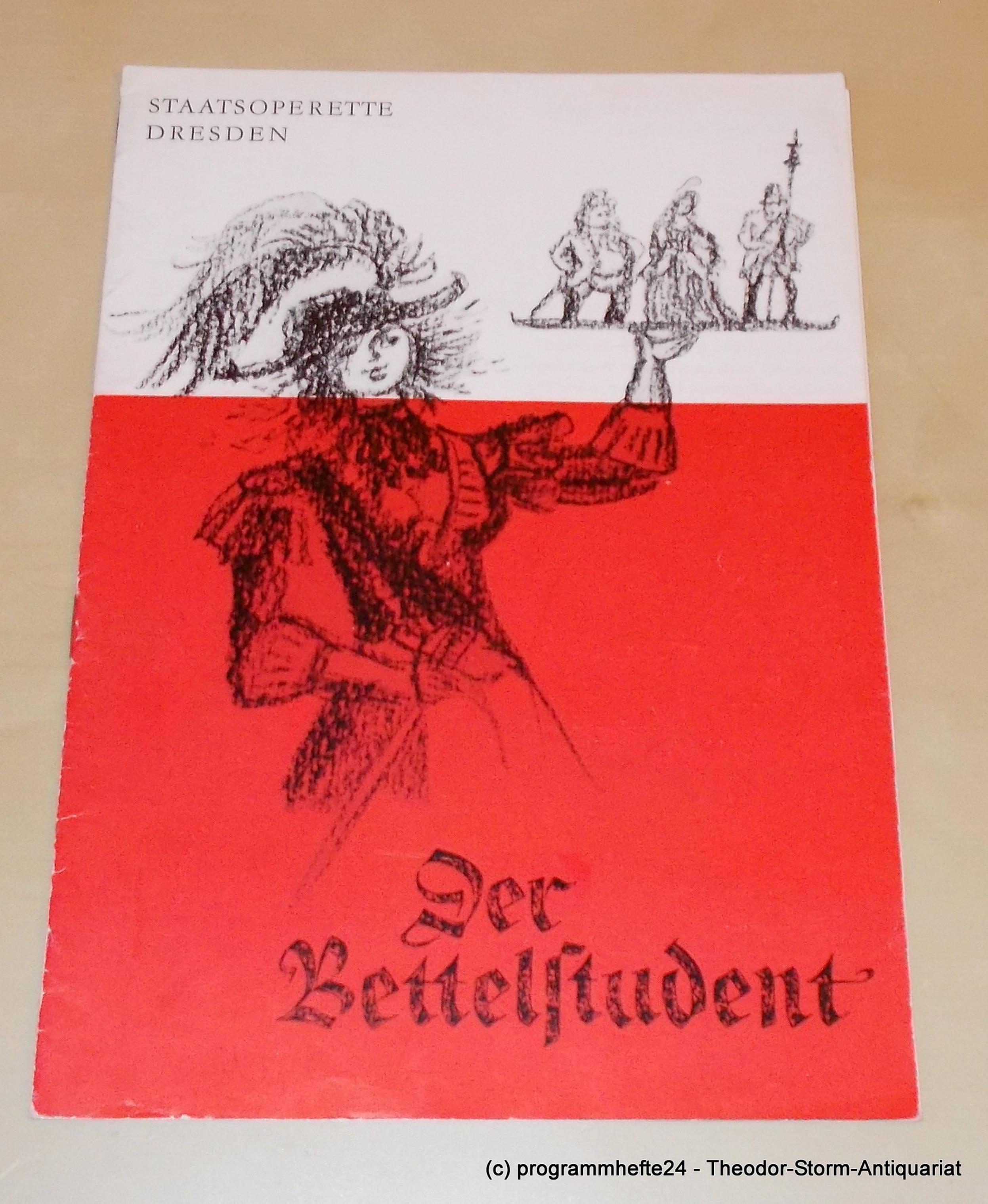 Programmheft Der Bettelstudent. Staatsoperette Dresden 1974