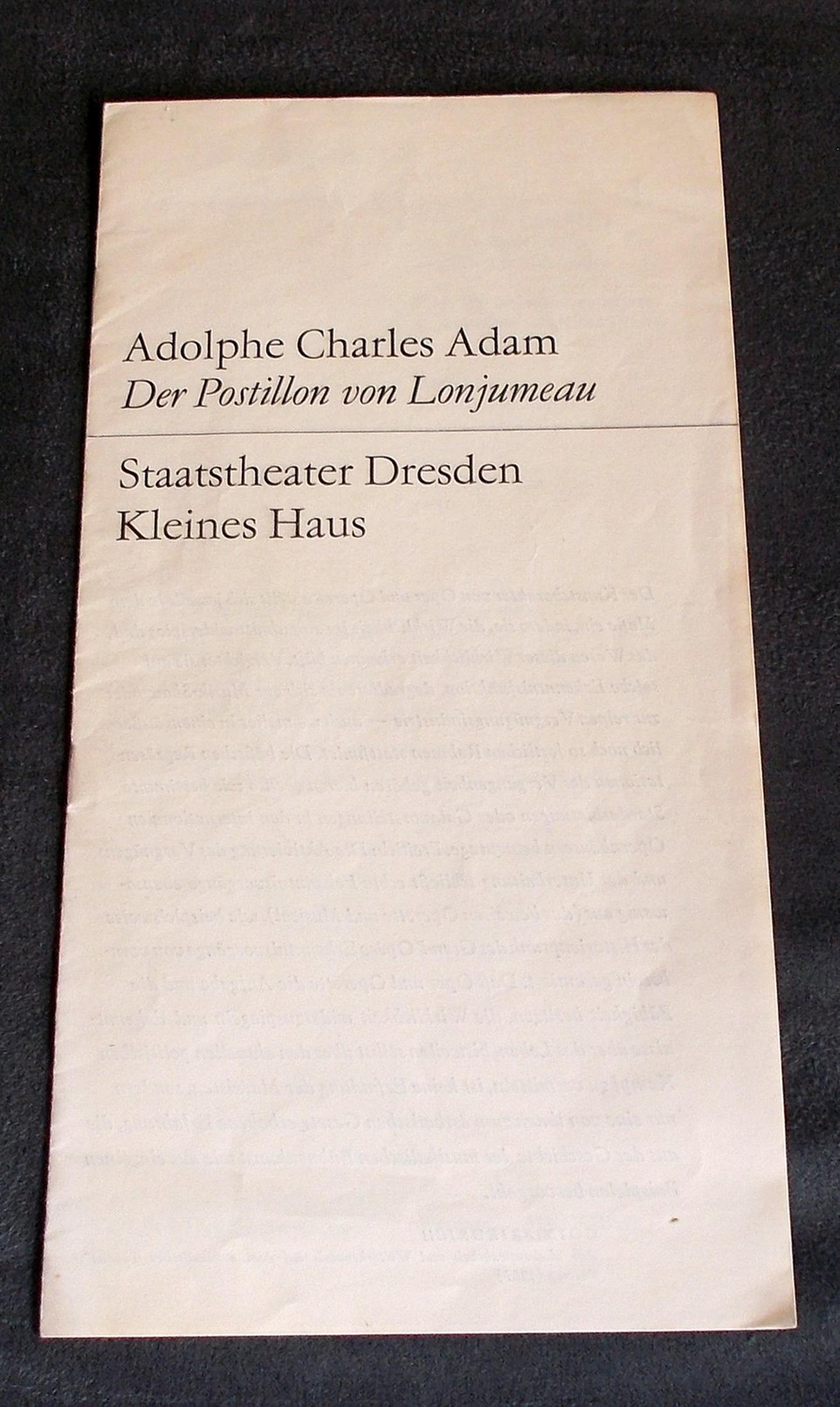 Programmheft Der Postillon von Lonjumeau. Staatsoper Dresden 1970