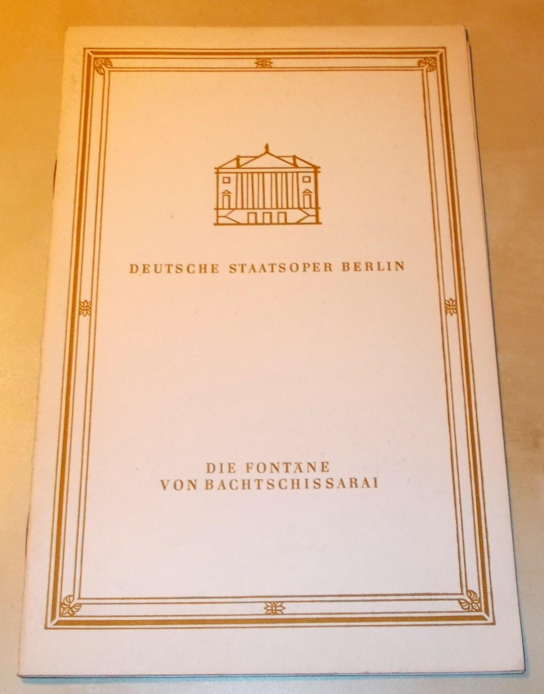 Programmheft Die Fontäne von Bachtschissarai. Deutsche Staatsoper Berlin 1970