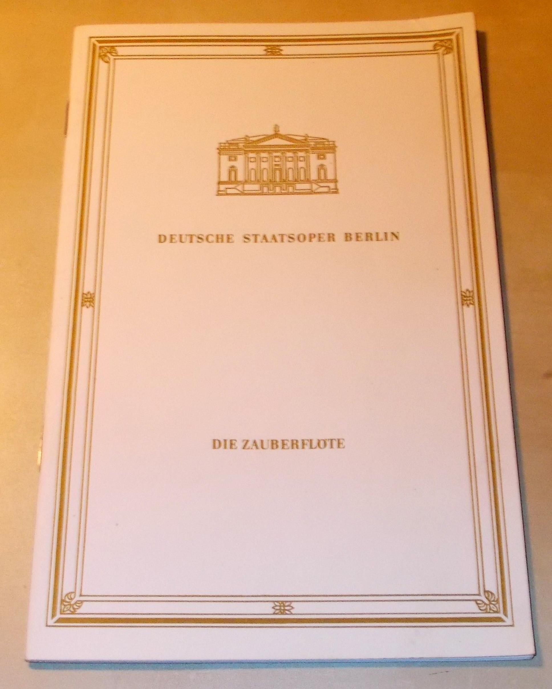 Programmheft Die Zauberflöte Deutsche Staatsoper Berlin 1978