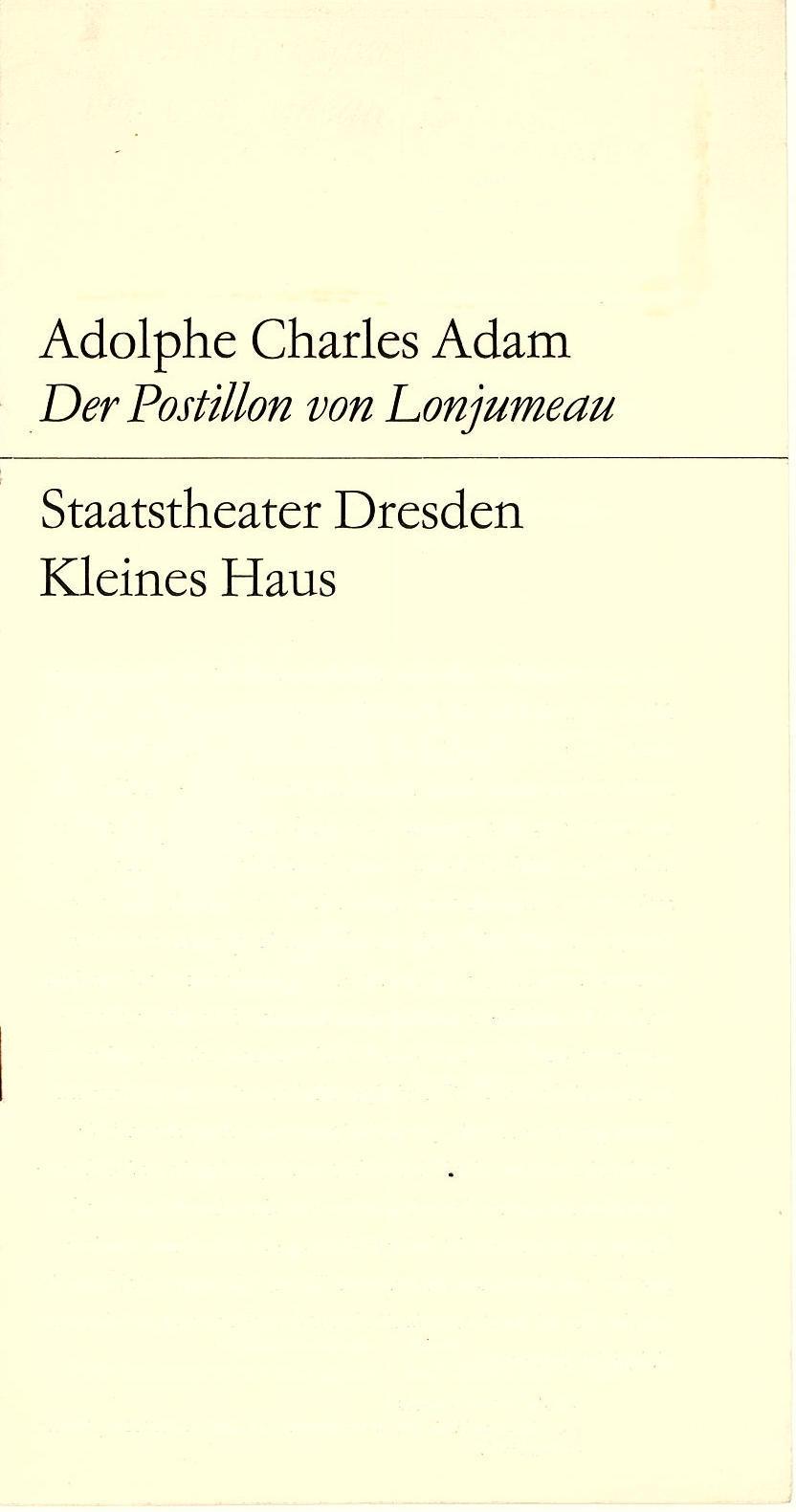 Programmheft Der Postillon von Lonjumeau. Staatstheater Dresden 1970