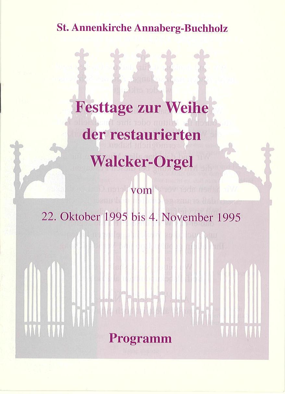 Programmheft Festtage zur Weihe der restaurierten Walcker-Orgel 1995