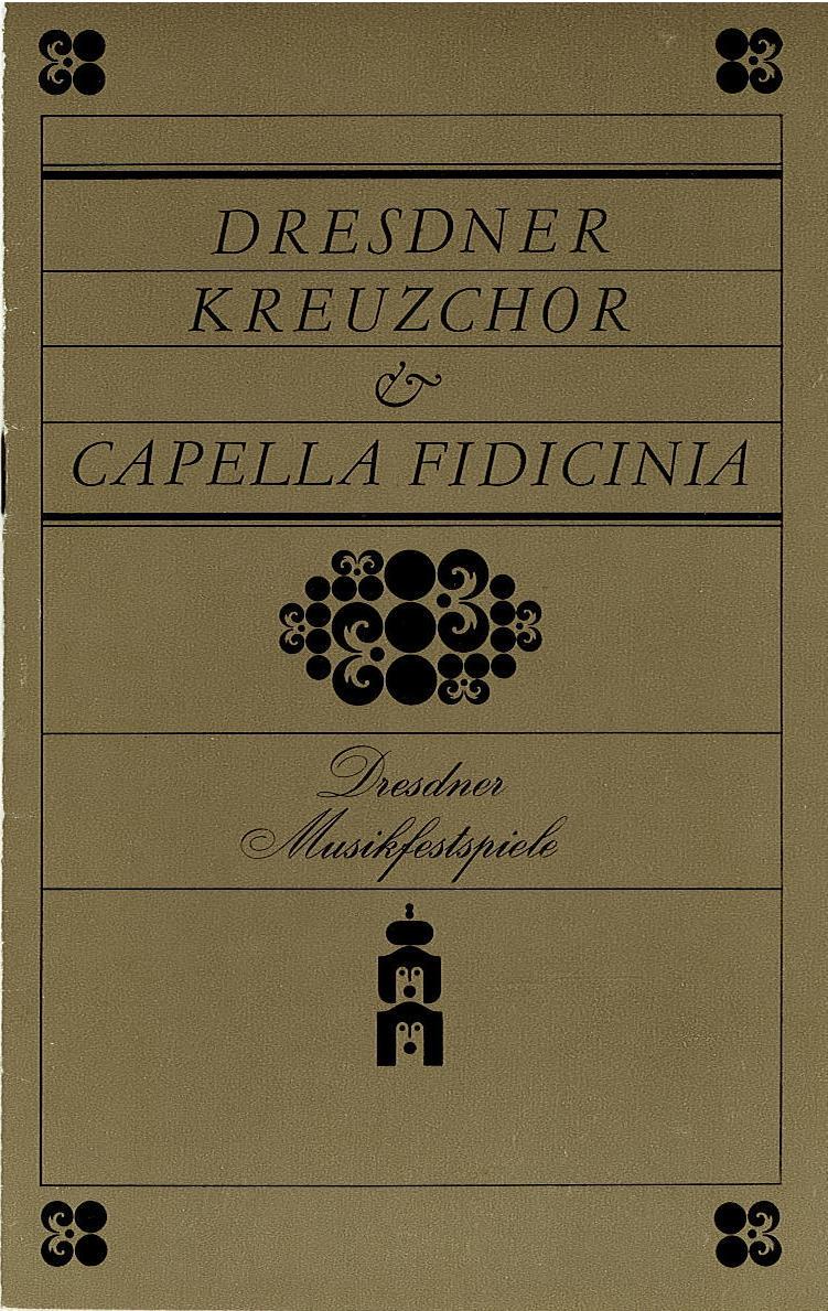 Programmheft Dresdner Kreuzchor Capella Fidicinia. Dresdner Musikfestspiele 1983