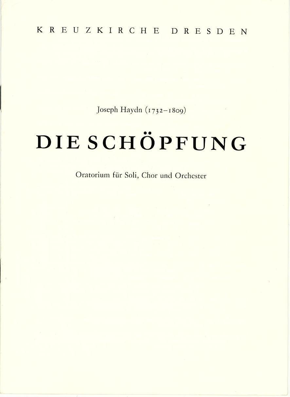 Programmheft Die Schöpfung. Oratorium von Joseph Haydn Kreuzkirche Dresden 1985