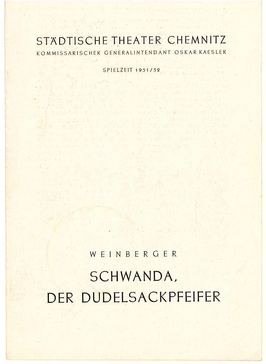 Programmheft Schwanda, der Dudelsackpfeifer. Städtische Theater Chemnitz 1952