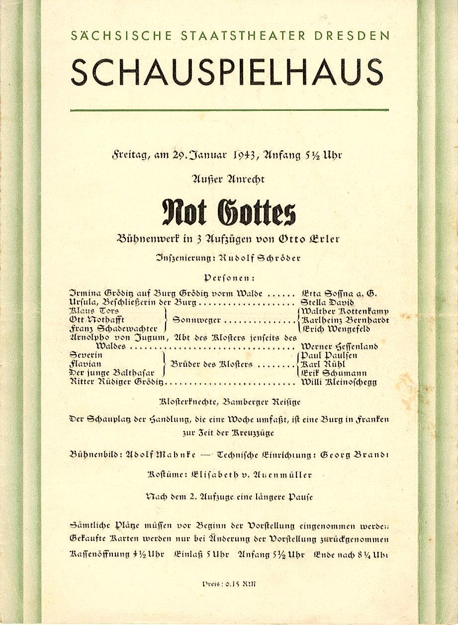 Programmheft Not Gottes von Otto Erler. Dresden 1943