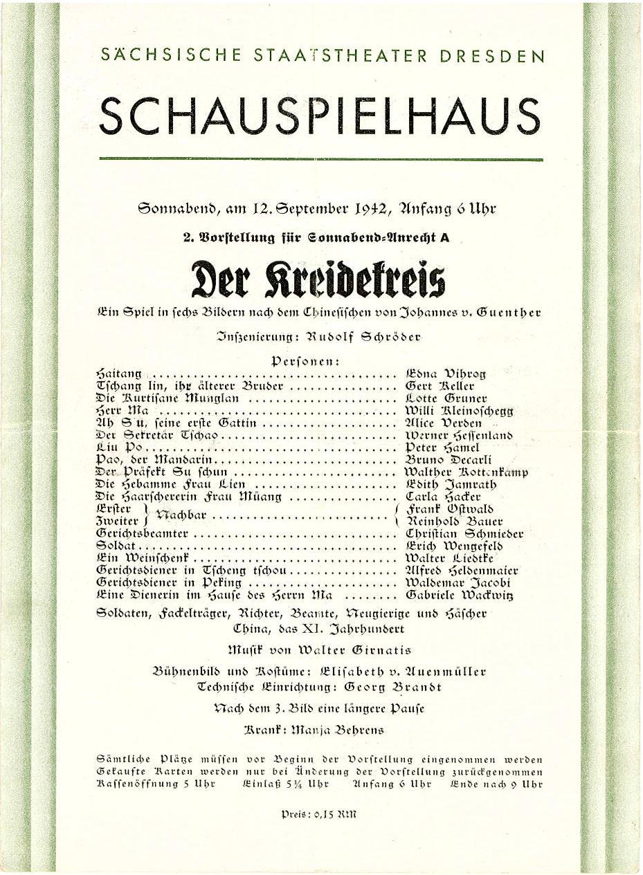 Programmheft Der Kreidekreis. Staatstheater Dresden, Schauspielhaus 1942