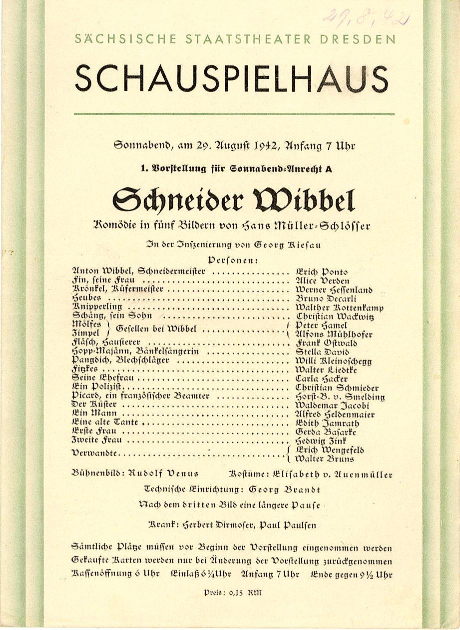 Programmheft Schneider Wibbel. Staatstheater Dresden, Schauspielhaus 1942