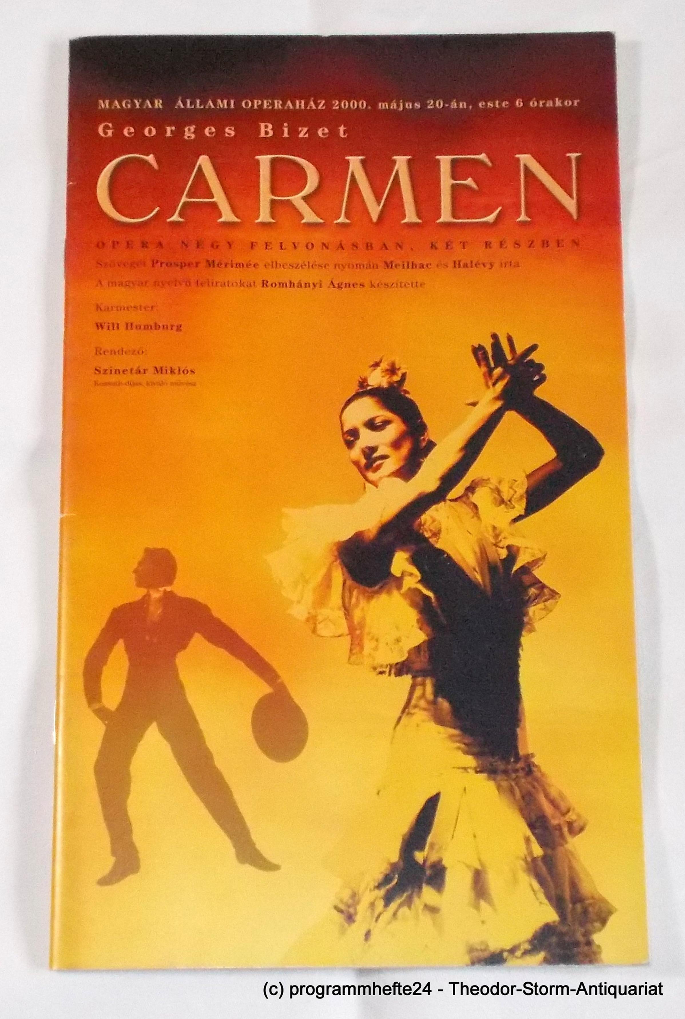 Programmheft CARMEN von Georges Bizet. Ungarische Staatsoper Budapest 2000