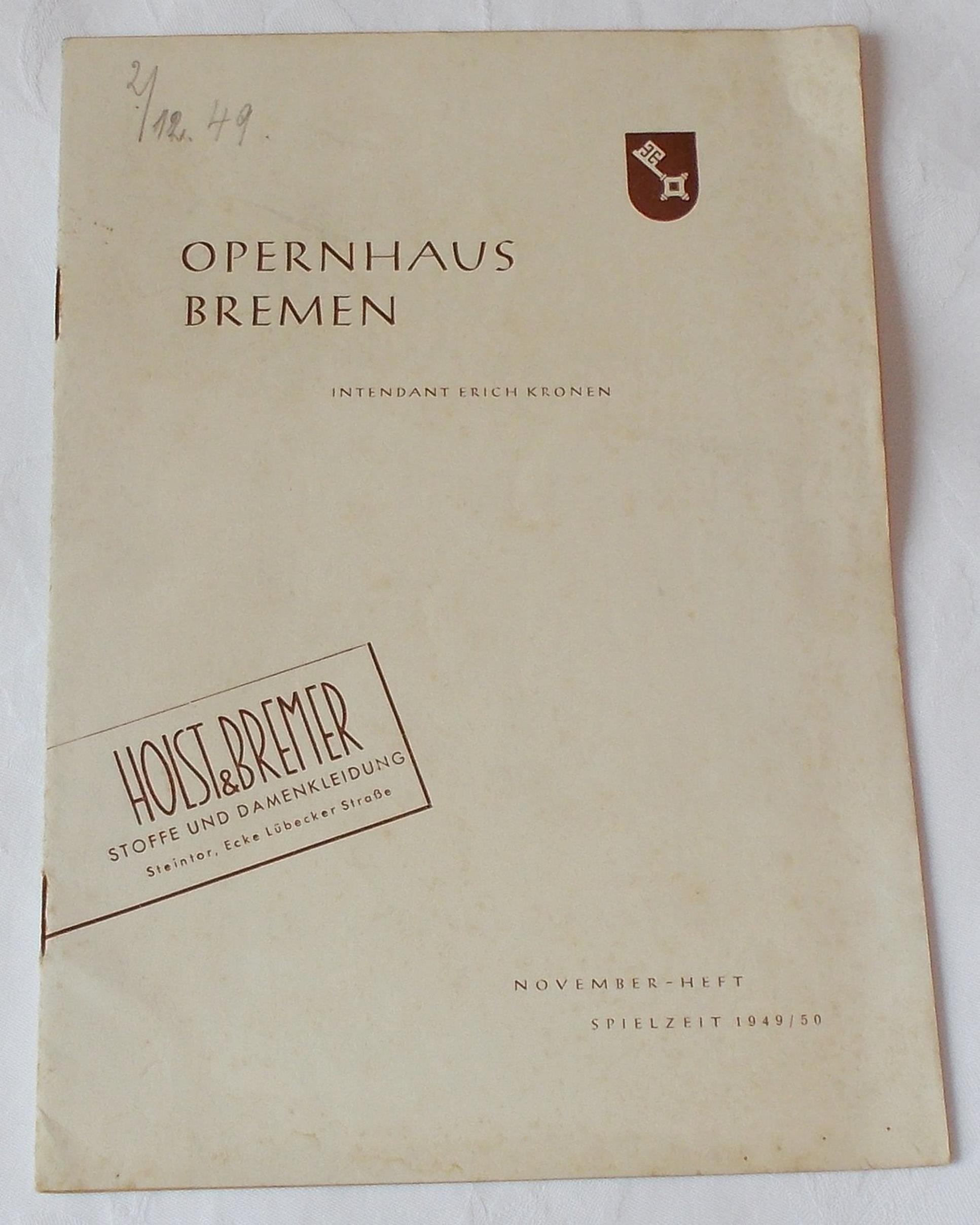 Programmheft Tannhäuser und der Sängerkrieg auf der Wartburg Oper Bremen 1949