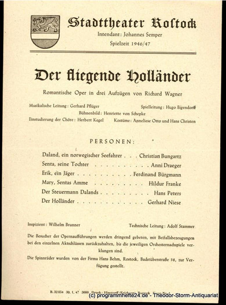 Theaterzettel Der fliegende Holländer. Stadttheater Rostock 1947