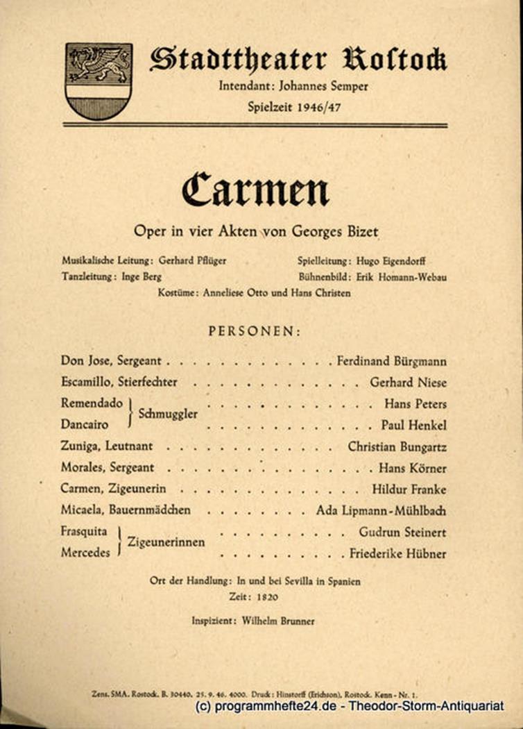 Theaterzettel Carmen. Stadttheater Rostock 1946