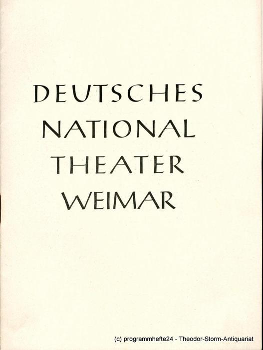 Programmheft Zar und Zimmermann. Deutsches Nationaltheater Weimar 1951