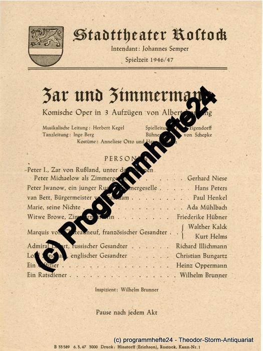 Theaterzettel Zar und Zimmermann. Stadttheater Rostock 1947