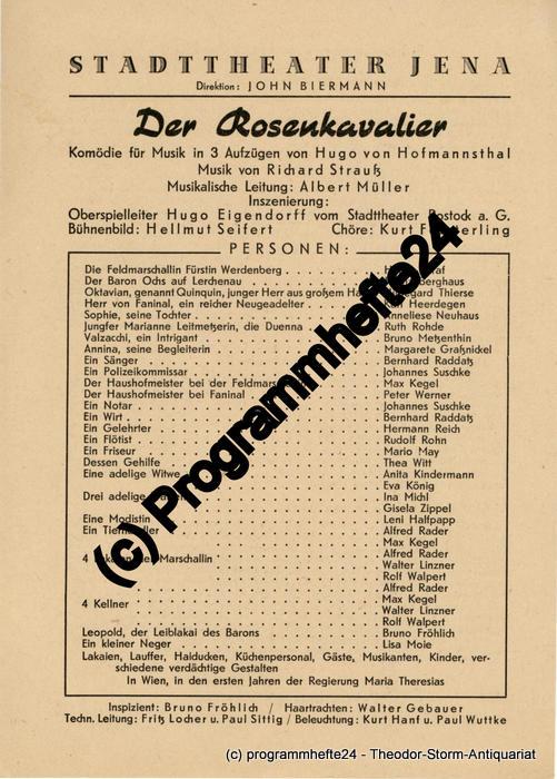 Theaterzettel Der Rosenkavalier. Stadttheater Jena 1948