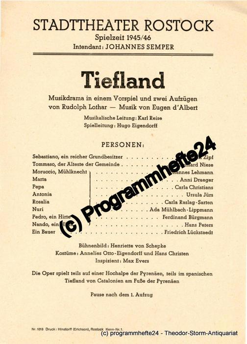 Theaterzettel TIEFLAND. Stadttheater Rostock Spielzeit 1945 / 46