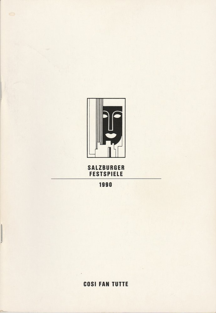 Programmheft Wolfgang A. Mozart COSI FAN TUTTE  Salzburger Festspiele 1990